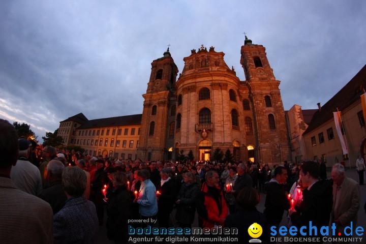 Festgottesdienst in der Basilika mit einer Lichterprozession: Weingarten, 2